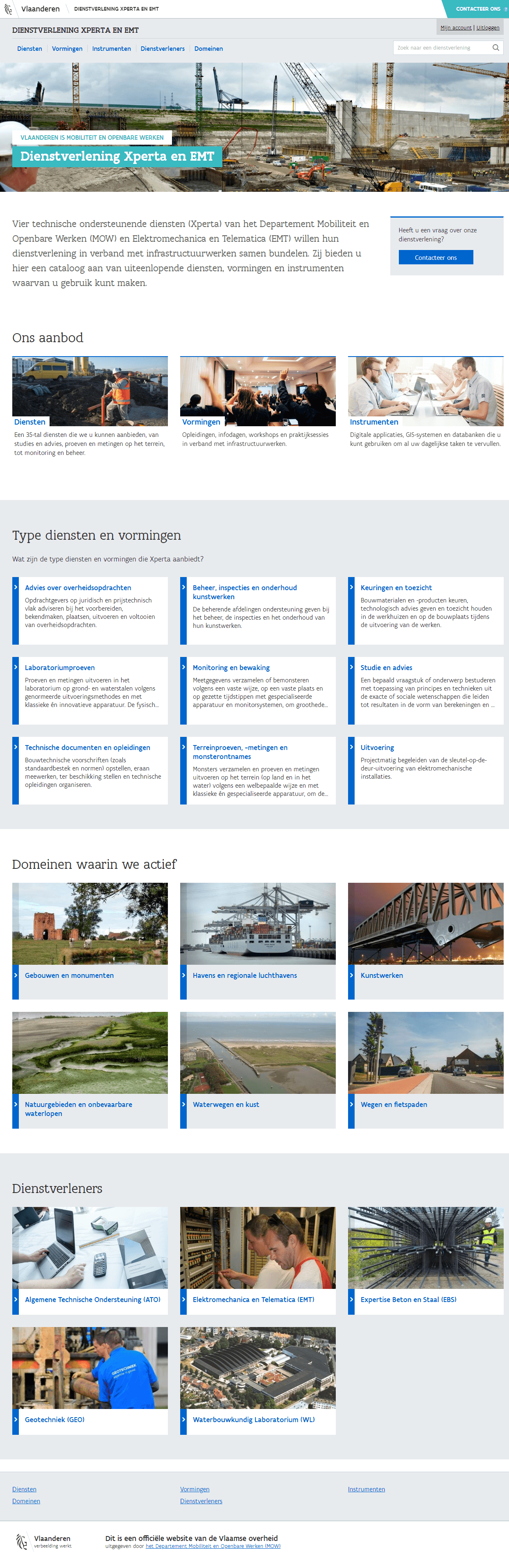 Screenshot of the Xperta homepage