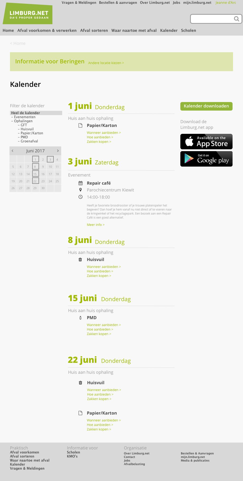 Limburg.net wireframes kalender