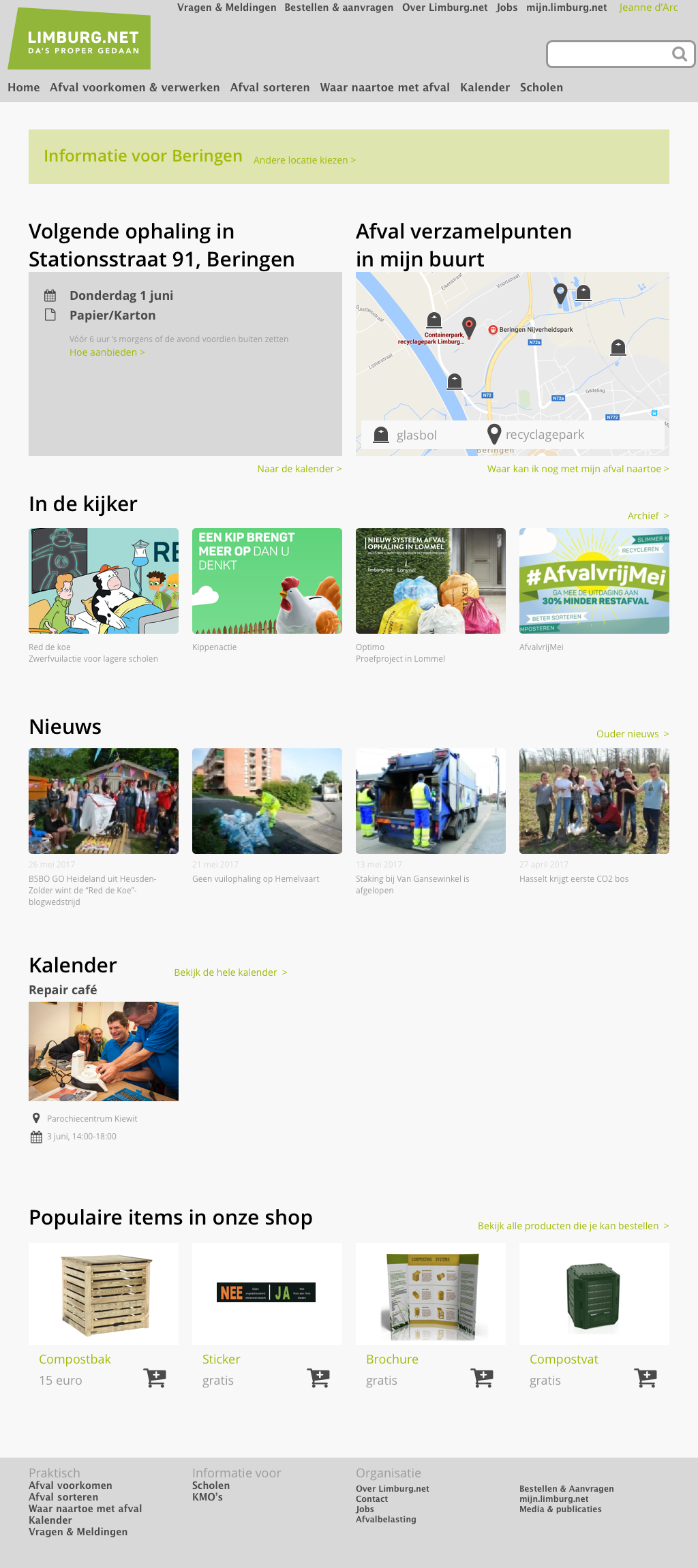 Limburg.net wireframes homepage