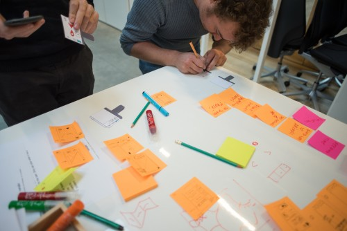Participants testing their paper prototypes